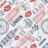 London background. Vector London background with tourism attractions and symbols. Big ben, bus, tea,cup, flag, telephone and  umbrella Stock Images