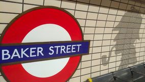 London Baker street Underground station sign with royalty free stock image
