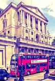 London, Bank of England. Square and underground station with red bus on foreground Royalty Free Stock Image