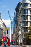 LONDON, Bank of England street and Gherkin building view. City of London Stock Images