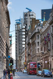 LONDON, Bank of England street and Lloyds bank building view. City of London Royalty Free Stock Photography