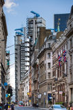LONDON, Bank of England street and Lloyds bank building view. City of London Royalty Free Stock Images