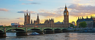 London banner with three buses. London banner showing  Big Ben, Parliament, Westminster Bridge, two motor buses and one River bus on the Thames Royalty Free Stock Photos