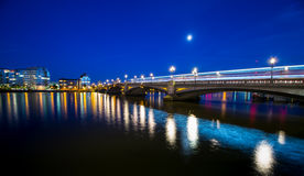 London. Battersea Bridge Thames River by night London England Royalty Free Stock Photography