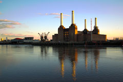 London Battersea power station at sunset Royalty Free Stock Image
