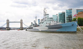 London Belfast ship and Thames river Stock Image