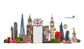 London Berühmte Gebäude von London-, Reise- und Geschäftshintergrund Stockbilder