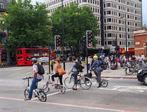 London bicycle commuters Royalty Free Stock Photo