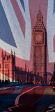 London Big Ben blended with British Flag Union Jack. Texture background Royalty Free Stock Image