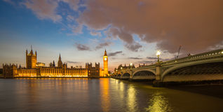 London. Big Ben and British parliament Westminster Bridge  Thames River London Royalty Free Stock Images