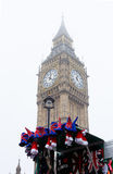 London, Big Ben and British souvenirs stall. Royalty Free Stock Photography