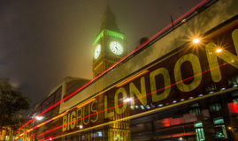 London, Big Ben, bus in motion Royalty Free Stock Photo