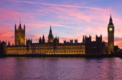 London. Big Ben clock tower. Famous Big Ben clock tower and Parliament building in London, UK Royalty Free Stock Photography