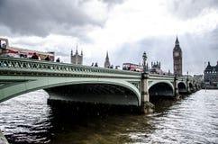 London - Big Ben - Cloudy Rain. Big ben and bridge in London in a storm Royalty Free Stock Photo