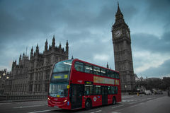 London Big Ben and double decker bus Stock Photos