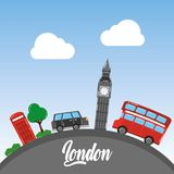 London big ben double decker bus taxi telephone booth tree sky Royalty Free Stock Images
