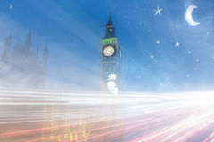 London big ben. In a fantasy style with lights rays royalty free stock image