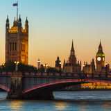 London, Big Ben and Houses of Parliament at dusk Stock Photos