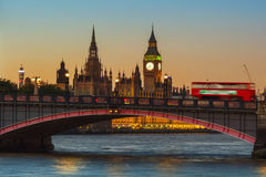 London, Big Ben and Houses of Parliament at dusk Royalty Free Stock Image