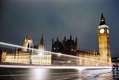London, Big Ben and Houses of Parliament at night. Night view of the Big Ben and houses of parliament in London, England Stock Image