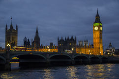 London big ben. At night with lights royalty free stock images