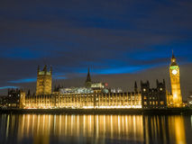 London Big Ben. At night with the palace of Westminster Royalty Free Stock Images