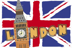 London. Big ben over flag of england and text of london stock illustration