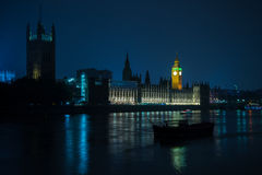 London Big Ben and Parliament House on Thames Stock Photo