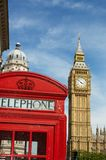 London, the big ben and red telephone box Royalty Free Stock Images