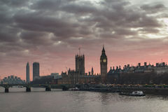 London Big Ben. Shot at the evening of Westminster parliament and Big ben in London, England Royalty Free Stock Photos