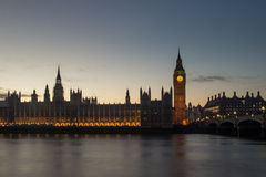 London Big Ben. Shot at the evening of Westminster parliament and Big ben in London, England Stock Image