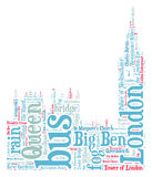 London Big Ben silhouette. Word cloud Royalty Free Stock Photo