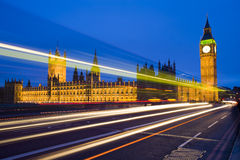 London big ben speed lights. Traffic in front of big ben in a evening in london Royalty Free Stock Image