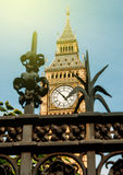 London, Big Ben sunny day and protection fence Stock Photo