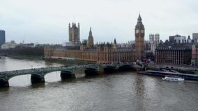 London, Big Ben, Thamse river stock video footage