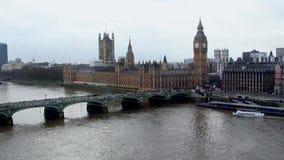 London, Big Ben, Thamse river stock video footage