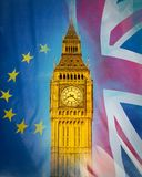 London Big Ben Tower blended with European Union and Union Jack. Flag, Brexit Project Double Exposure Stock Image