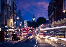 London Big Ben from Trafalgar Square traffic Stock Images