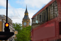 London Big Ben from Trafalgar Square traffic Royalty Free Stock Images