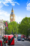 London Big Ben from Trafalgar Square traffic Royalty Free Stock Photos