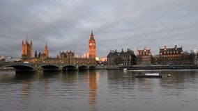 London.The Big Ben and Westminster Bridge at sunset, England. stock footage