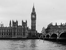 London - Big Ben and Westminster Brridge Stock Photo