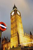 London, BigBen. Night view of the famous Big Ben in London, England Stock Photos