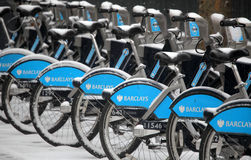 London bikes in winter Royalty Free Stock Images