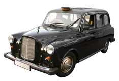 London black taxi cab. Old style traditional London black taxi cab isolated on white stock images
