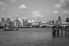 London Black and White. View of London including St Pauls dome and caanary wharf in Black and White royalty free stock images
