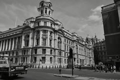 London black and white. Great weather for exploring the park in London, the London Eye, visiting the museum objects, Buckingham Palace, tour of the other Stock Images