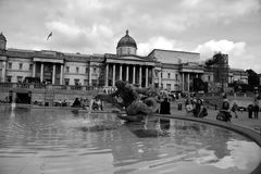London black and white. Great weather for exploring the park in London, the London Eye, visiting the museum objects, Buckingham Palace, tour of the other Royalty Free Stock Photography