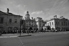 London black and white. Great weather for exploring the park in London, the London Eye, visiting the museum objects, Buckingham Palace, tour of the other Stock Photography