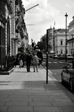 London black and white. Great weather for exploring the park in London, the London Eye, visiting the museum objects, Buckingham Palace, tour of the other Royalty Free Stock Photos